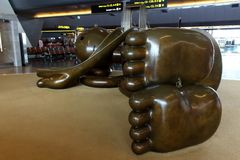 Bronze figures of airport in Doha Stock Photography