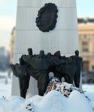 Bronze figures on Rebirth Memorial, Bucharest, Romania Royalty Free Stock Images