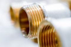 Bronze fittings for pipes. Royalty Free Stock Images