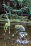 Bronze Flamingos Butchart Gardens Canada Royalty Free Stock Photography
