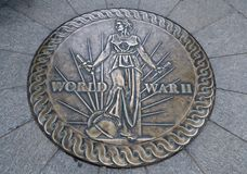 World War II Memorial Emblem. A bronze floor emblem celebrates the sacrifice of American soldiers who fought during World War II Stock Images