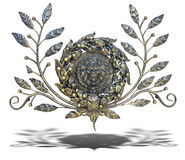 Bronze floral and lion pattern decoration with shadow isolated o Stock Photos