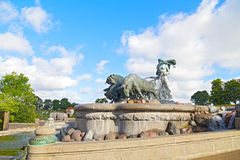 The bronze fountain depicting Norse goddess Gefion, Copenhagen, Denmark. The Gefion Fountain with raging bulls on the harbor front in Copenhagen Royalty Free Stock Photos