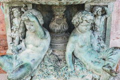 bronze fountain with figures of angels in Marbella Andalucia Spa Royalty Free Stock Photo