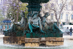 Bronze fountain at Rossio square in Lisbon Royalty Free Stock Photo