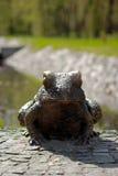 Bronze frog, park landscape decoration Royalty Free Stock Photography