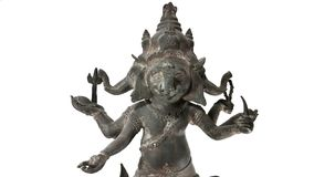 Bronze Ganes in Thai suit culture. Old bronze ganes Royalty Free Stock Photo
