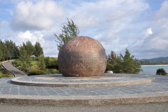 Bronze Globe of Tanjung Simpang Mengayau, Sabah, Malaysia. This tip has been developed as a tourist attraction. It is located in a park-like grounds and feature Royalty Free Stock Photography