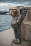 Bronze griffin in St. Petersburg on the Neva River in Russia. Monument to the bronze griffin in St. Petersburg on the Neva River in Russia stock photography