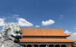 Bronze Guardian Lion Statue in the Forbidden City, Beijing Stock Photo
