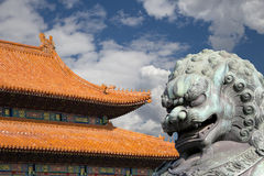 Bronze Guardian Lion Statue in the Forbidden City, Beijing Royalty Free Stock Image