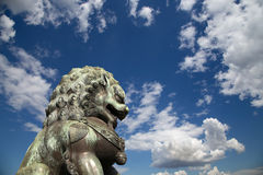 Bronze Guardian Lion Statue in the Forbidden City, Beijing Royalty Free Stock Photography