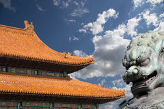 Bronze Guardian Lion Statue in the Forbidden City, Beijing Royalty Free Stock Images