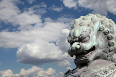 Bronze Guardian Lion Statue in the Forbidden City, Beijing Royalty Free Stock Photo