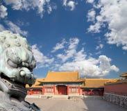 Bronze Guardian Lion Statue in the Forbidden City, Beijing Stock Photography