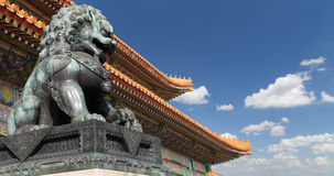 Bronze Guardian Lion Statue in the Forbidden City, Beijing, China.  royalty free stock photo