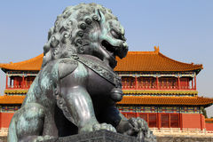 Bronze Guardian Lion Statue in the Forbidden City, Beijing, China Stock Photos