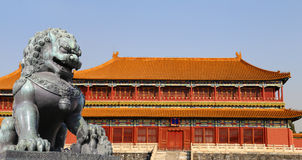 Bronze Guardian Lion Statue in the Forbidden City, Beijing, China.  stock photo