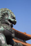 Bronze Guardian Lion Statue in the Forbidden City, Beijing, China Royalty Free Stock Photo