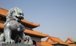 Bronze Guardian Lion Statue in the Forbidden City, Beijing Stock Image