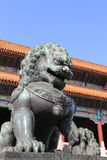 Bronze Guardian Lion Statue in the Forbidden City, Beijing. China Royalty Free Stock Images