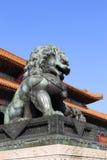 Bronze Guardian Lion Statue in the Forbidden City, Beijing Stock Photo
