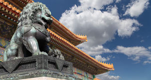 Bronze Guardian Lion Statue in the Forbidden City, Beijing Royalty Free Stock Photos