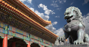 Bronze Guardian Lion Statue in the Forbidden City, Beijing Stock Photos