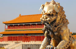 Bronze Guardian Lion Statue in the Forbidden City, Beijing. China Stock Image