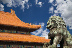 Bronze Guardian Lion Statue in the Forbidden City, Beijing, China Royalty Free Stock Image