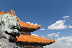 Bronze Guardian Lion Statue in the Forbidden City, Beijing, China Royalty Free Stock Photography