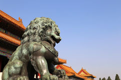 Bronze Guardian Lion Statue in the Forbidden City, Beijing, China Royalty Free Stock Photos