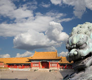 Bronze Guardian Lion Statue in the Forbidden City, Beijing, China Royalty Free Stock Images