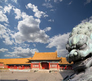 Bronze Guardian Lion Statue in the Forbidden City, Beijing, China Stock Image
