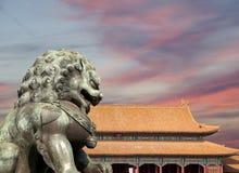 Bronze Guardian Lion Statue in the Forbidden City, Beijing Stock Photos