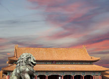 Bronze Guardian Lion Statue in the Forbidden City, Beijing Stock Photography