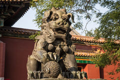 Bronze Guardian Lion Statue in Yonghe Temple (Lama Temple) in Beijing Stock Image