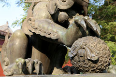 Bronze Guardian Lion Statue in Yonghe Temple (Lama Temple) in Beijing Royalty Free Stock Photos