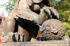 Bronze Guardian Lion Statue in Yonghe Temple (Lama Temple) in Beijing Stock Photos