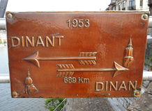 Bronze guide sign at the town center of Dinant, Wallonia region of Belgium Royalty Free Stock Photos