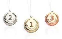 bronze guld isolerad medaljsilver Arkivbilder
