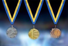 bronze guldmedaljsilver Arkivbild