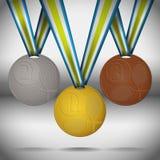 bronze guldmedaljsilver Arkivfoto