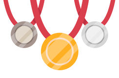 bronze guldmedaljsilver Guldmedalj på den vita bakgrunden Isolerad guldmedalj Vektor Illustrationer