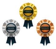 bronze guldsilver för utmärkelsear vektor stock illustrationer