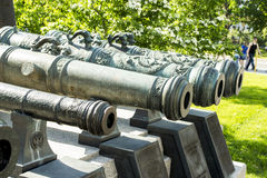 Bronze Guns Exibition in Moscow Kremlin Royalty Free Stock Photo