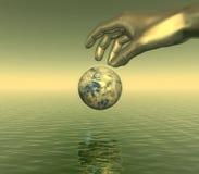 Bronze hand. And globe over sea - digital artwork Stock Photos
