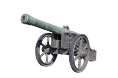 Bronze handgun (small cannon). 92 mm regimental bronze handgun (cannon). Made in 1628. Russia. Weight is 852 kg, length is 3020 mm Royalty Free Stock Photo