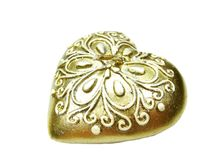 Bronze heart spa aroma candle. Heart bronze spa aroma candle as present souvenir isolated Stock Images