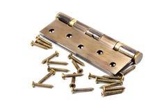 Bronze hinge and screws Royalty Free Stock Image